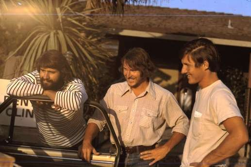 Russ, Joe, Dennis, before the CA-NYC drive, 1974.