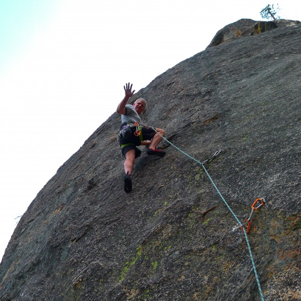 Mike Arechiga on a super fun 5.8 at Zipp-De-Do-da Buttress