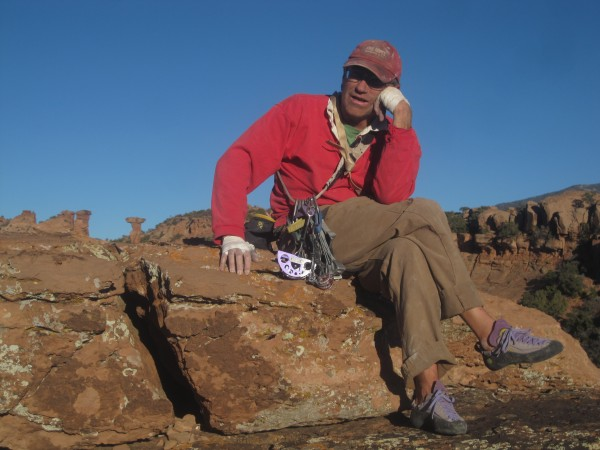 Jay chillin' atop Rhino's Horn, a tower in Moab across from Elvis' Ham...