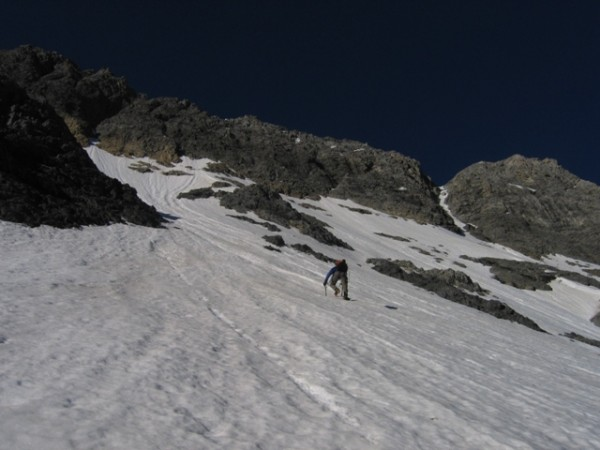 Borah North Face - headin' for the hidden couloir which finishes prett...