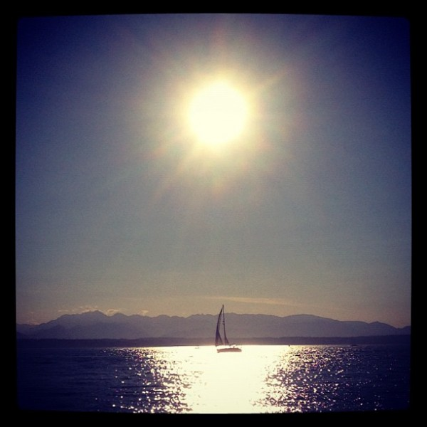 Shot with my iPhone last night at a beach party near Seattle. Olympic ...