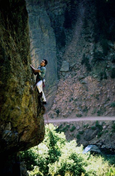 Pat Ament, first pitch of T2, Eldorado, about 1972, photo by Jeff Schw...
