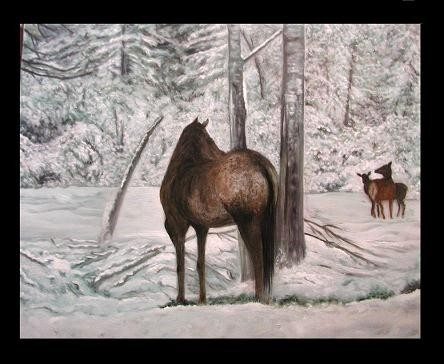 MORE on the trees and snow, to do--and TOUCH up on the elk...