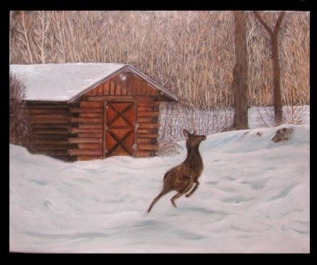 MORE on the cabin, AND the elk, to do... more on the TREES and brush, ...