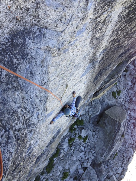my friend Cherie following the crux 5.10d face pitch on OZ on Drug Dom...