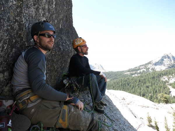 "Will and I hanging out on a ledge on ""Crescent Arch"" on Daff Dome tryi..."