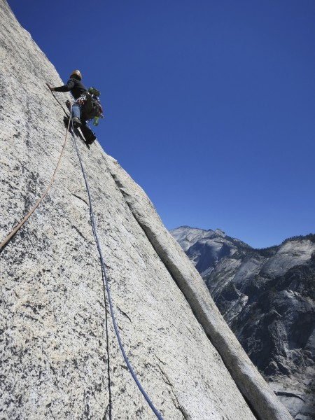 me making the first crux moves of the route on Crest Jewel