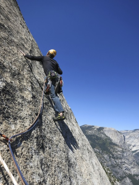 me setting off on the p8 final 5.10 pitch on Crest Jewel