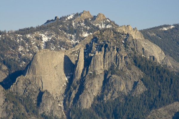 Castle Rocks as seen from Moro Rock.  The Fin is one the left, Spire i...