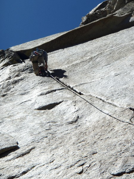 Tom climbing the beautiful second pitch.  It goes from a seem
