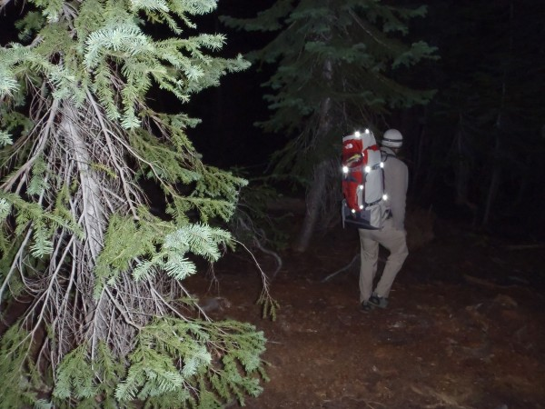 Tom heading cross-country in the night for an attempt at the spire.