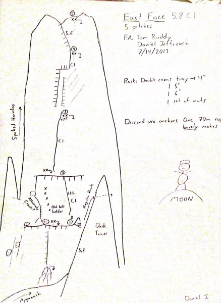 A rough topo.  This route can definitely go free if a couple of strong...