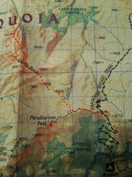 Approximate route from the Paradise Ridge Trail