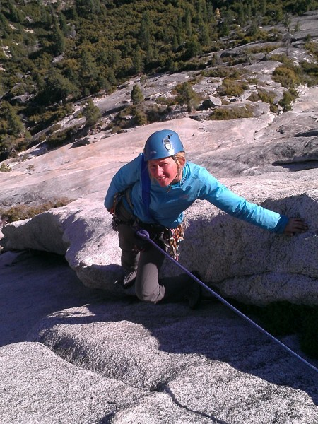 Beautiful Ann on the South Face or North Dome. May 2013
