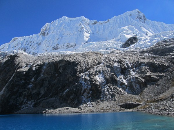The Chacrarajus from Laguna 69. Oeste on left, Este (6001m) on right.