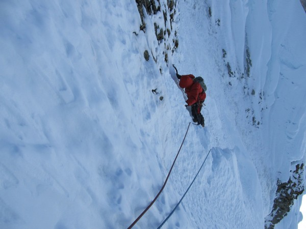 Some of the steeper climbing before the cornice shenanigans.