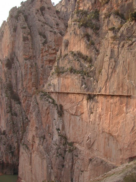 El Chorro Gorge. Camino del Rey, left end.