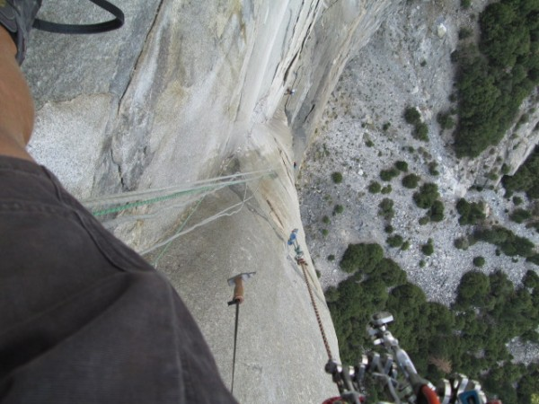 me above the flying buttress! best pitch Iv ever lead!