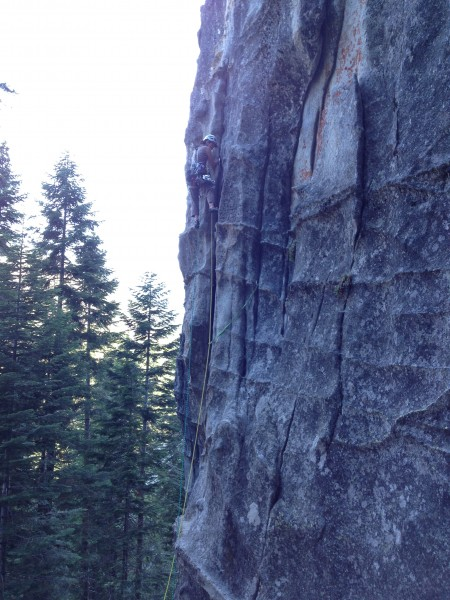 Leading first pitch - first crux pulled, 2 pc below the feet - yea!