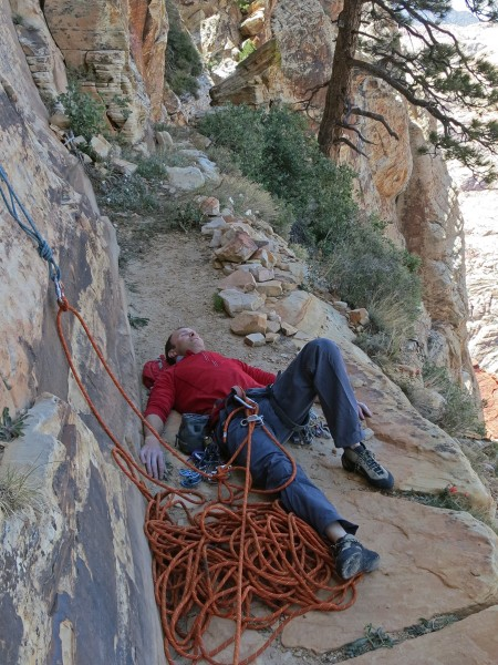 Taking a quick break on Over the Rainbow ledge before traversing left ...