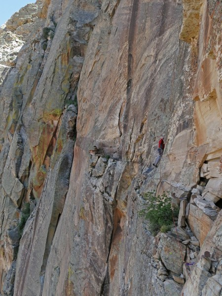 The exposed 5.8 traverse over to the base of the red dihedral