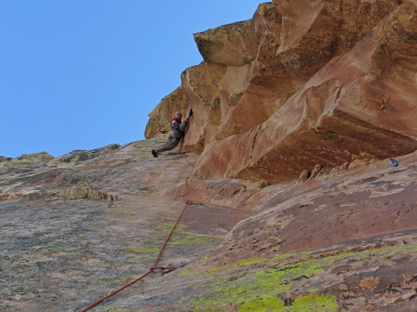 Almost at the top of pitch 12.  Forearms are wasted at this point...