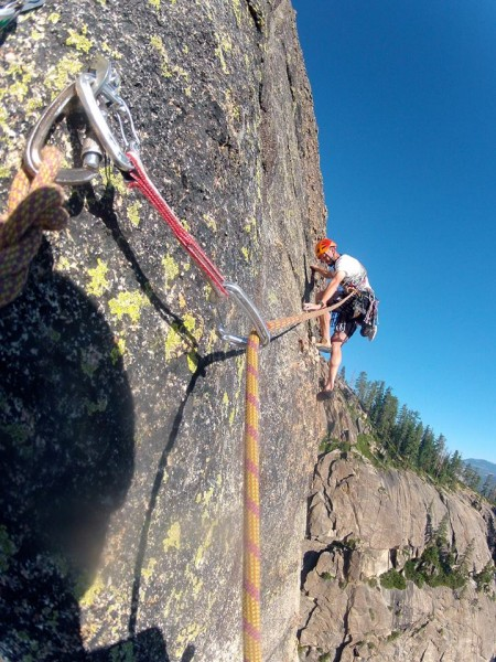 Adam at the crux, the thin step off the belay on pitch 3.  10 degree c...