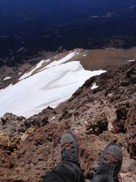 Looking SE down on the Wintun Glacier, from the summit of Mt Shasta.