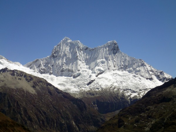 Chacraraju north face with the west peak (left) and the est pe...