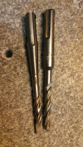 "1/4"" SDS bits. The left one is ground down to create a smooth transiti..."