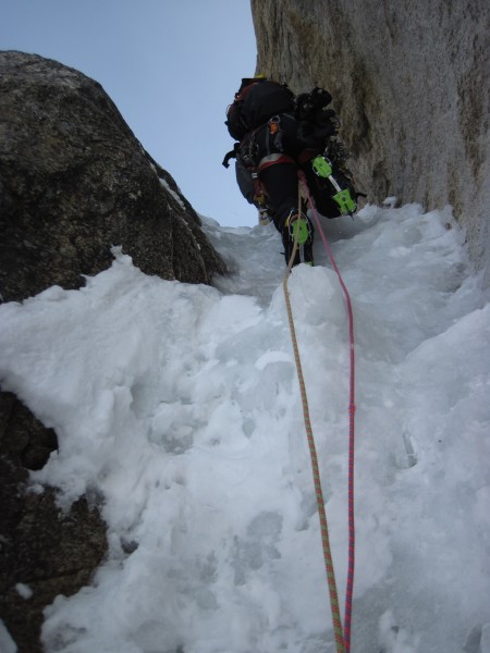 Steve Towne on a steep bit of Ham and Eggs, Moose's Tooth. Trango Exte...