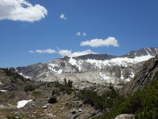 View from back of Saddlebag Lake on the trail