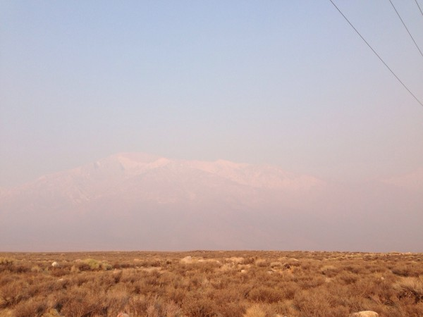 Mt. Tom Obscured by the Big Fire smoke.