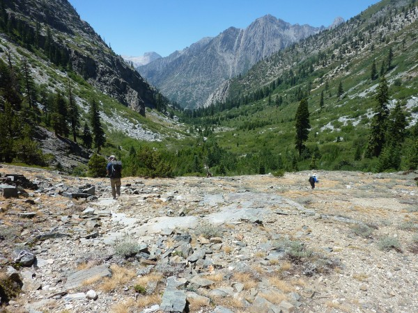 Joining up with the old John Muir trail and looking down toward the Mi...