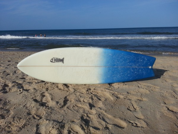 "6'4"" sort-a-fish deck (waxed) epoxy/poly"