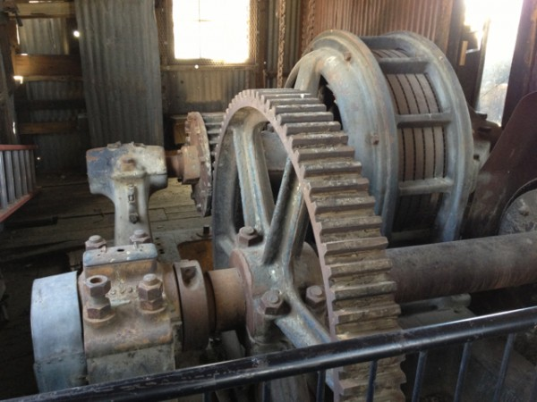 Synchronous lift motor and gearing in lift house.