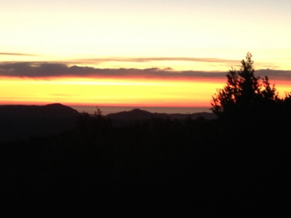 Santa Cruz Mtns with the Pacific lurking beneath the fog. Jan 2013