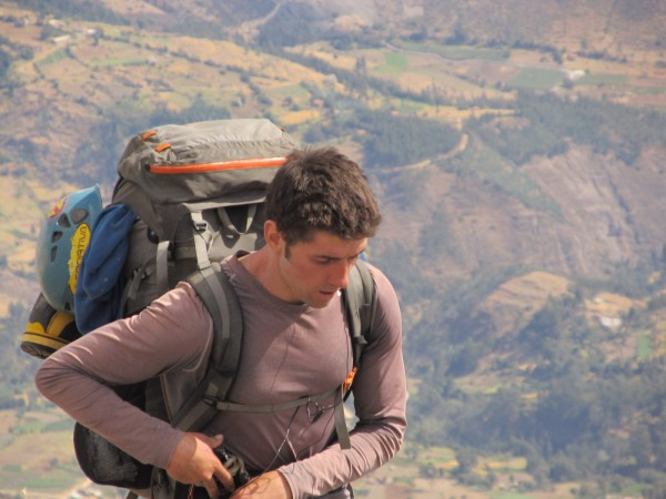 Vitaliy hikes up to the refugio with Musho behind.
