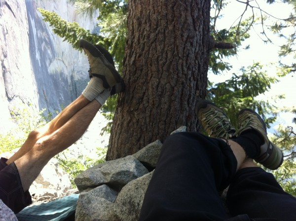 Kicking back at the hotel Half Dome pre-send day