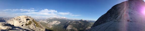 Post Snake Dyke, an evening descent of the cables on Half Dome.