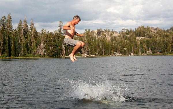 Jumping out of Kirkwood lake