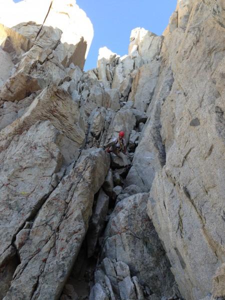Aaron downclimbing Darwin chutes.