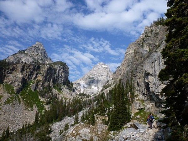 Looking up Garnet Canyon toward the Middle Teton