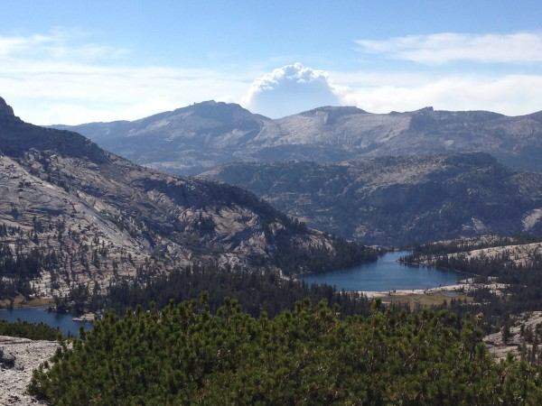 Rim Fire with cathedral lakes in the foreground. Taken on Saturday &#4...