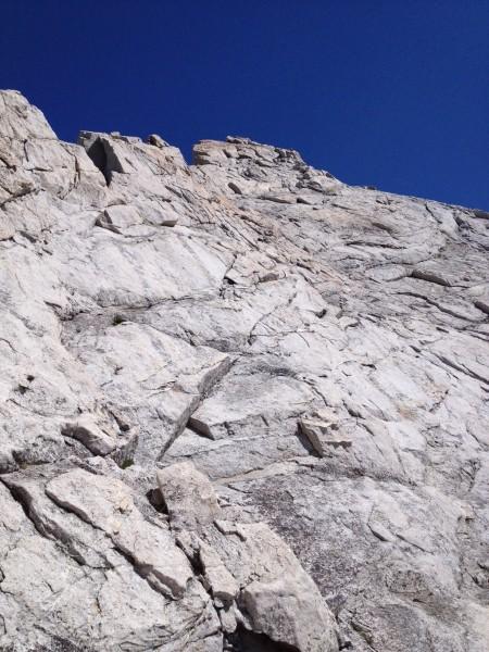 Looking up towards summit