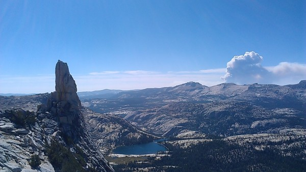 Eichorn and the mushroom cloud from the rim fire.