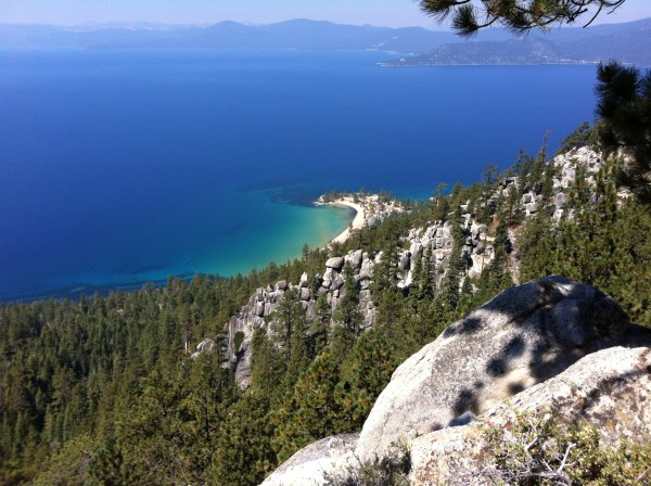 Sand Harbor Lake Tahoe from the Flume Trail 8/29/13 noon.