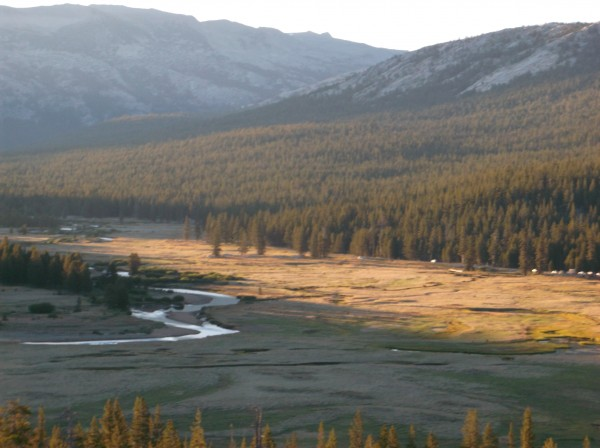 Tuolumne Meadows at dawn from Pothole Dome