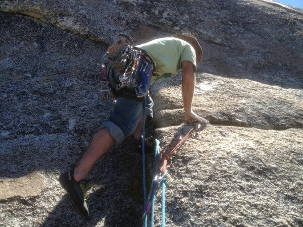 """Last ascent of Rawl Drive on 1/4"""" bolts.  Set a rope for replacement."""