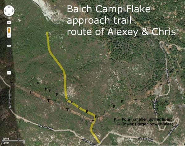 Patterson Bluff Right - Balch Camp Flake approach trail - route of Ale...